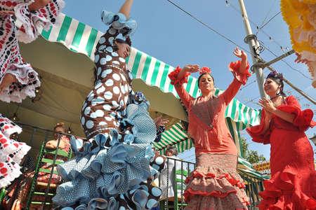 flemish: SEVILLE, SPAIN, APRIL FAIR Dancing in the Seville Fair
