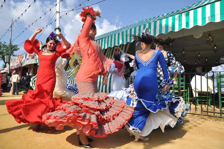 seville: SEVILLE, SPAIN, APRIL FAIR Dance in the Seville Fair