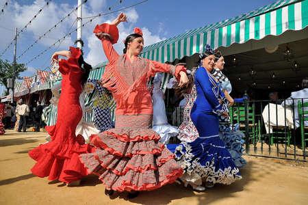 SEVILLE, SPAIN, APRIL FAIR womans dancing at the fair Seviila