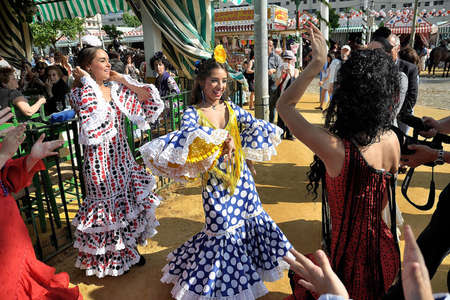 SEVILLE, SPAIN, APRIL FAIR Gypsy dancing at the fair Seviila