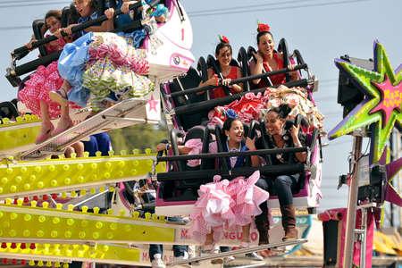 SEVILLE, SPAIN, APRIL FAIR fairground ride