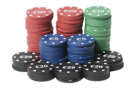 Gambling chips With sign of Euros on white bakground Stock Photo