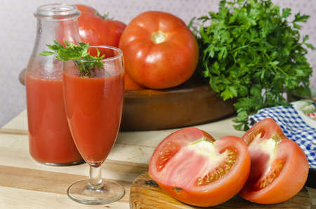 cures: still life of tomatoes and juice Stock Photo