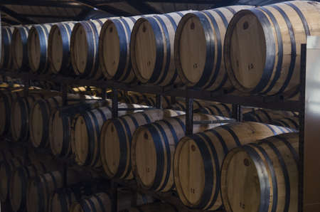 sherry: group for wine barrels in winery well ordered