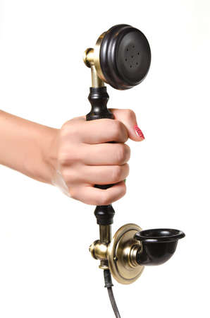 hand crank: Woman Stock Photo