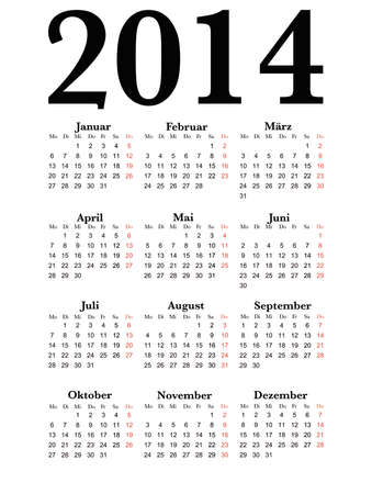 Simple Calendar for year 2014 in german, easy editing Vector