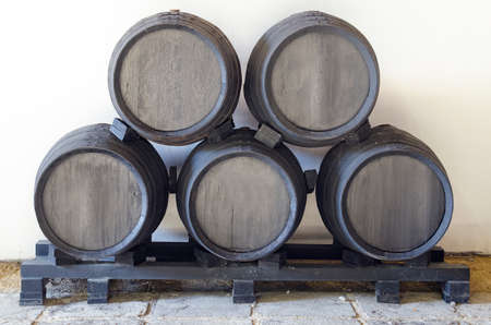 sherry: Former black barrels stacked in pyramid