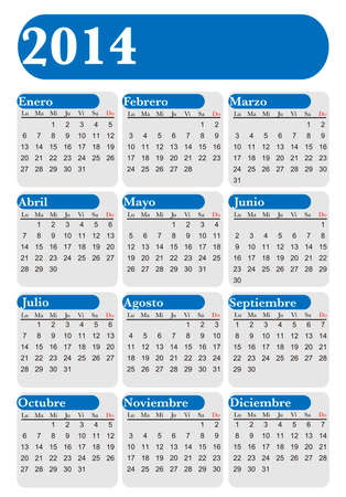 Calendar for year 2014 in Spanish, blue and white, vector Vector