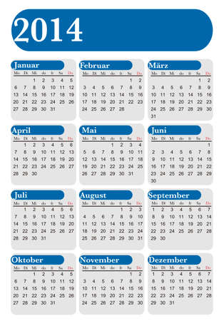German Calendar 2014 blue and white Vector