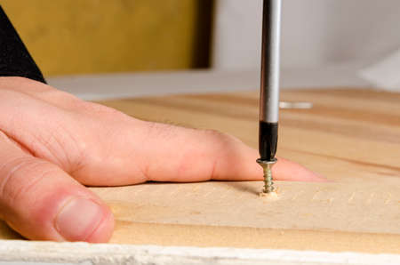 adjusting screw: hand and screwdriver, adjusting a screw in foreground
