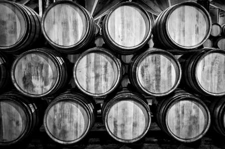ferment: Old barrels for Whisky or wine on white and black Stock Photo