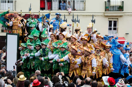 CADIZ, SPAIN-MARCH 02: A choir of carnival sings to the audience during the traditional