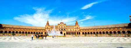 Panoramic of the Plaza de Espana (Spains Square) in Seville.