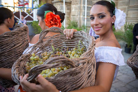 JEREZ DE LA FRONTERA, SPAIN-SEPTEMBER 10: Woman with basket full of grapes during inaugural ceremony of the festival of the harvest, where workers tread the grapes to get out the wine of sherry on sep 10, 2014 in Jerez de la frontera.
