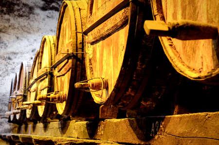 Details of very old wine barrels