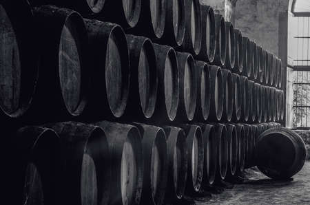 Whiskey or wine cellar in black and white