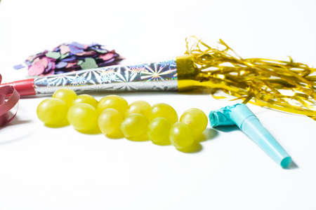 Twelve grapes and utensils for New Years holiday 版權商用圖片
