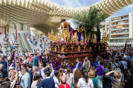 holy week in seville: SEVILLE. SPAIN - APRIL 14: The image of El Beso de Judas In their procession by Seville In Holy week on april 14, 2014 in seville.