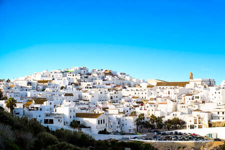 Landscape of a white town, Vejer de la Frontera in Andalusia, Spain.