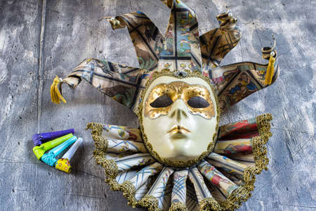 blowers: Classical venetian carnival mask and blowers Stock Photo