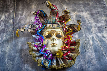 blowers: Classical venetian carnival mask and serpentine Stock Photo