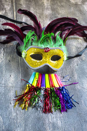 Carnival mask and blower on wood photo