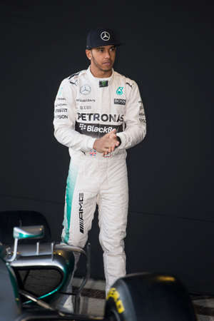 JEREZ DE LA FRONTERA, SPAIN - FEBRUARY 01: Lewis Hamilton, pilot of the team Mercedes in test Formula 1 in Circuito de Jerez on feb 01, 2015 in Jerez de la frontera