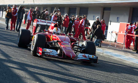vettel: JEREZ DE LA FRONTERA, SPAIN - FEBRUARY 01: Sebastian Vettel, pilot of the team Ferrari in test Formula 1 in Circuito de Jerez on feb 01, 2015 in Jerez de la frontera.