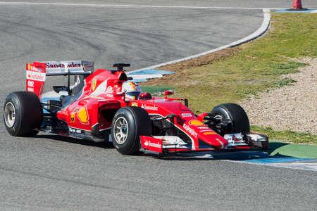 JEREZ DE LA FRONTERA, SPAIN - FEBRUARY 01: Sebastian Vettel, pilot of the team Ferrari in test Formula 1 in Circuito de Jerez on feb 01, 2015 in Jerez de la frontera.