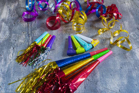 blowers: Item for party, colorful serpentine and blowers Stock Photo