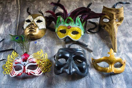 Group carnival masks from different cities such as Venice, Naples or Rio de janeiro photo