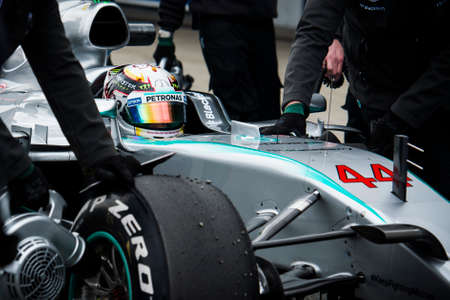JEREZ DE LA FRONTERA, SPAIN - FEBRUARY 02: Lewis Hamilton, pilot of the team Mercedes in test Formula 1 in Circuito de Jerez on feb 01, 2015 in Jerez de la frontera.