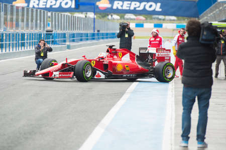 vettel: JEREZ DE LA FRONTERA, SPAIN - FEBRUARY 02: Sebastian Vettel, pilot of the team Ferrari in test Formula 1 in Circuito de Jerez on feb 01, 2015 in Jerez de la frontera. Editorial