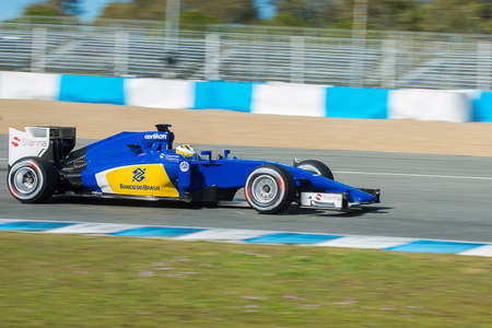 sauber: JEREZ DE LA FRONTERA, SPAIN - FEBRUARY 04: Marcus Ericsson, pilot of the team Sauber in test Formula 1 in Circuito de Jerez on feb 04, 2015 in Jerez de la fronter Editorial