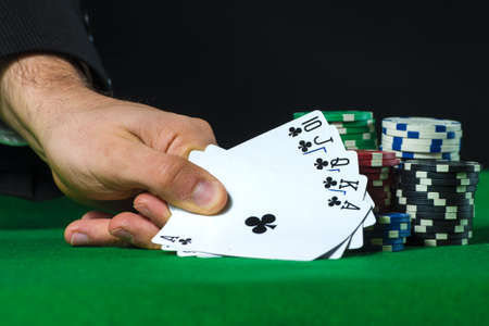 betting: Royal Flush in poker and betting chips