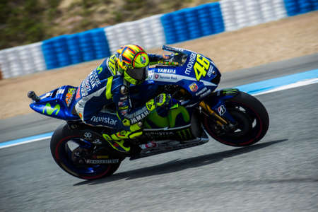 jerez de la frontera: JEREZ DE LA FRONTERA, SPAIN - MAY 01:  Valentino Rossi, Italian motoGP rider of team Movistar Yamaha in Bwin Grand Prix of Spain on May 01, 2015 in Jerez de la frontera.