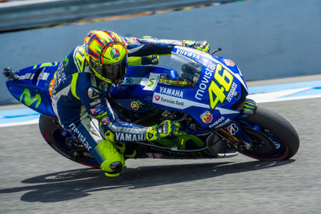 JEREZ DE LA FRONTERA, SPAIN - MAY 01:  Valentino Rossi, Italian motoGP rider of team Movistar Yamaha in Bwin Grand Prix of Spain on May 01, 2015 in Jerez de la frontera.