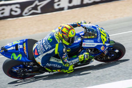 jerez de la frontera: JEREZ DE LA FRONTERA, SPAIN - MAY 01:  Valentino Rossi, Italian motoGP rider of team Movistar Yamaha in Bwin Grand Prix of Spain on May 01, 2015 in Jerez de la frontera.