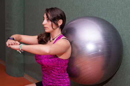 fitball: Woman doing pilates with fitball Stock Photo