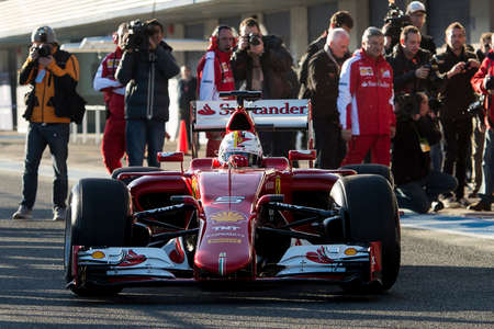 vettel: JEREZ DE LA FRONTERA, SPAIN - FEBRUARY 01: Sebastian Vettel pilot of the team Ferrari in test Formula 1 in Circuito de Jerez on feb 01, 2015 in Jerez de la frontera.