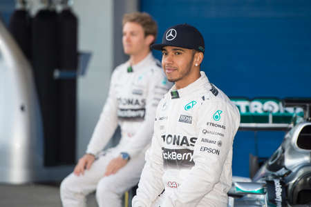 JEREZ DE LA FRONTERA, SPAIN - FEBRUARY 01: Lewis Hamilton, pilot of the team Mercedes in test Formula 1 in Circuito de Jerez on feb 01, 2015 in Jerez de la frontera.