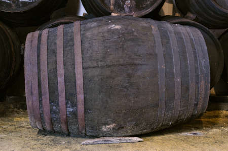 ferment: Barrel for wine or whiskey in winery Stock Photo