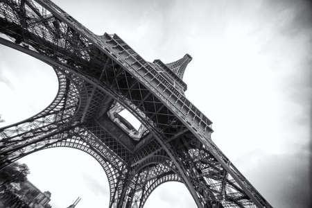 The Eiffel Tower in Paris, in black and white