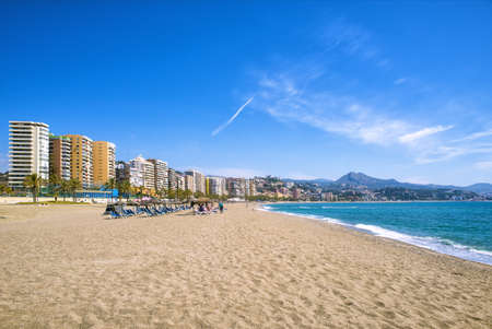 sea port: Malagueta Beach in Malaga, andalusia, Spain.