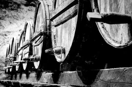 Whisky or wine barrels in black and white 版權商用圖片