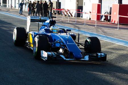 sauber: JEREZ DE LA FRONTERA, SPAIN - FEBRUARY 01:  Marcus Ericsson, pilot of the team Sauber in test Formula 1 in Circuito de Jerez on feb 01, 2015 in Jerez de la frontera