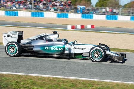 jerez de la frontera: JEREZ DE LA FRONTERA, SPAIN - FEBRUARY 01: Nico Rosberg, pilot of the team Mercedes in test Formula 1 in Circuito de Jerez on feb 01, 2015 in Jerez de la frontera. Editorial