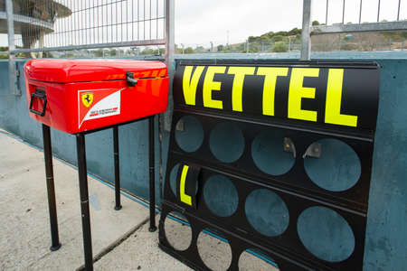 vettel: JEREZ DE LA FRONTERA, SPAIN - FEBRUARY 02: Poster of Sebastian Vettel, pilot of the team Ferrari in test Formula 1 in Circuito de Jerez on feb 02, 2015 in Jerez de la frontera. Editorial
