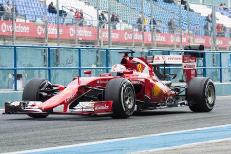 JEREZ DE LA FRONTERA, SPAIN - FEBRUARY 02: Sebastian Vettel, pilot of the team Ferrari in test Formula 1 in Circuito de Jerez on feb 02, 2015 in Jerez de la frontera.
