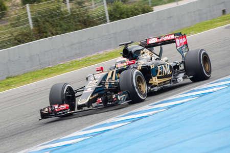 team lotus: JEREZ DE LA FRONTERA, SPAIN - FEBRUARY 02: Romain Grosjean, pilot of the team Lotus in test Formula 1 in Circuito de Jerez on feb 01, 2015 in Jerez de la frontera.